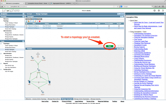 Starting a topology you've created in Junosphere.