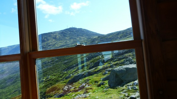 The view from Lakes of the Clouds hut up to the summit of Mt. Washington. I took this from my seat at the hut breakfast table in June 2014, about 2/3rds of the way through a 9 day adventure in New Hampshire's White Mountains.