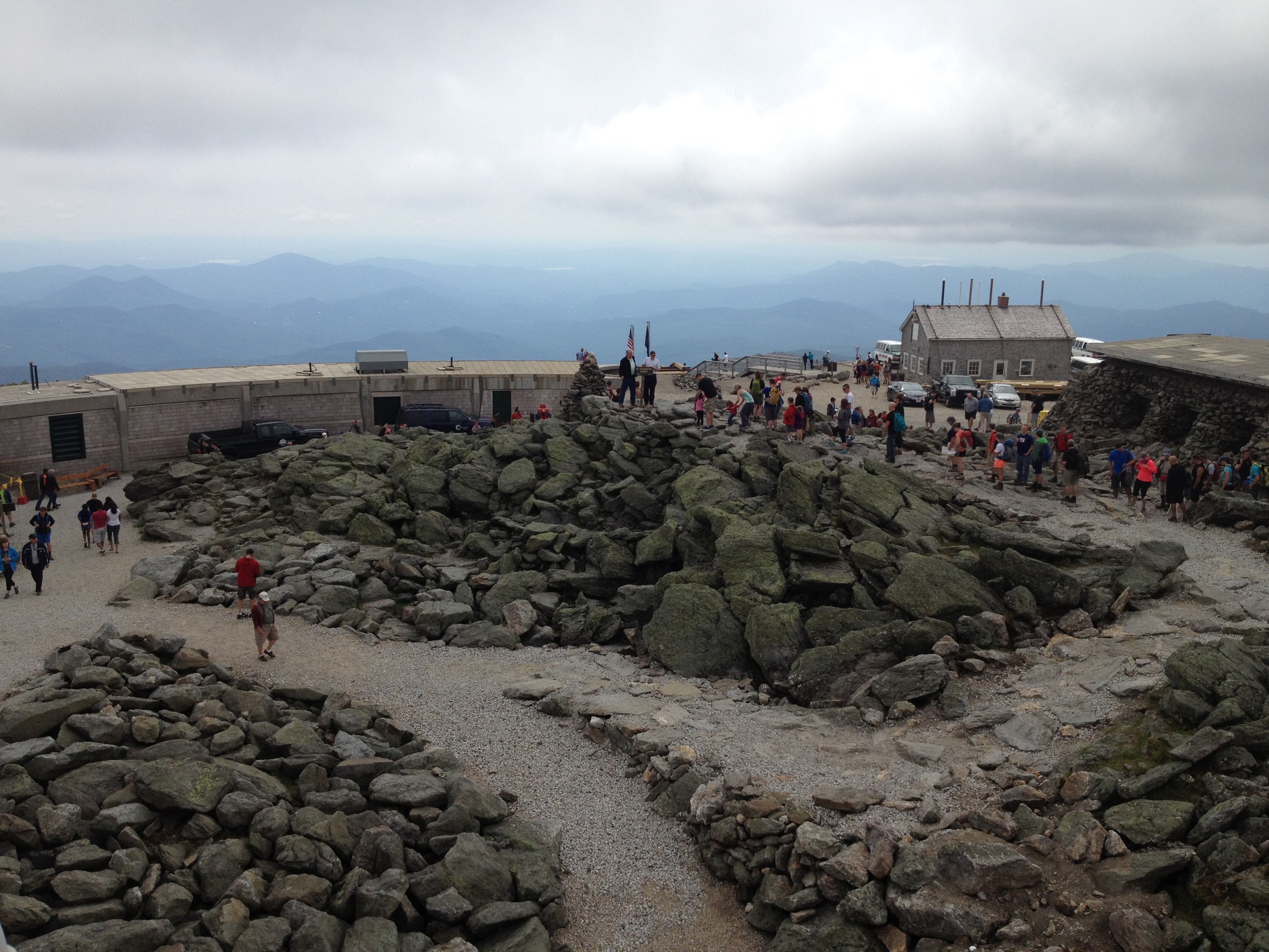 View from an MWO tower overlooking the Mt. Washington summit area.